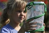 little girl holding butterfly cage looking into it