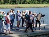 Group of people looking through binoculars.