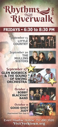 Join us this Friday, September 27 for the Rhythms on the Riverwalk concert series featuring Glen Boswick & The Sound of Swing Orchestra