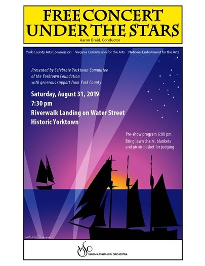 Join us Saturday, August 31 for the VA Symphony Concert presented by the Celebrate Yorktown Committee