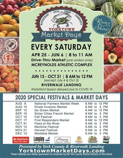 2020 Market Days Schedule Revised