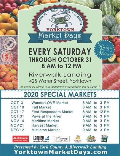 Yorktown Market Days continue every Saturday through October 31