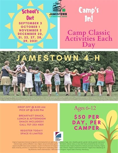 School's Out, Camp's In at Jamestown 4-H Center flyer