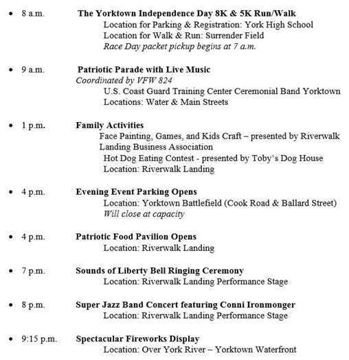 July 4th Schedule of Events