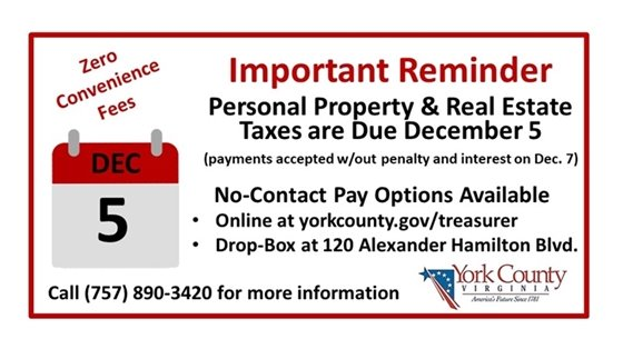 Important Reminder - Taxes are Due December 5