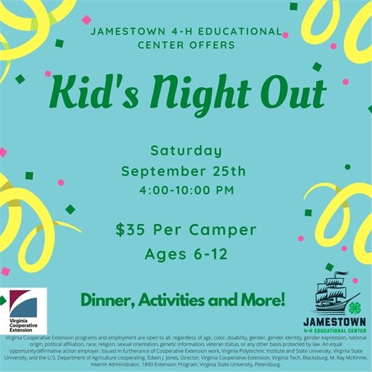 Kids Night Out at Jamestown 4-H center flyer