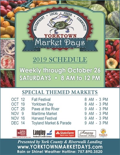 Yorktown Market Days continues Saturdays from 8 am to 12 pm