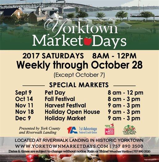 Yorktown Market Days continues weekly through Oct. 28