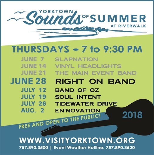 "Sounds of Summer, Thursday June 28 welcomes the ""Right On Band"""