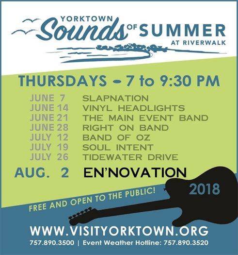 "Sounds of Summer with ""En'Novation"", Thursday August 2 at Riverwalk Landing"