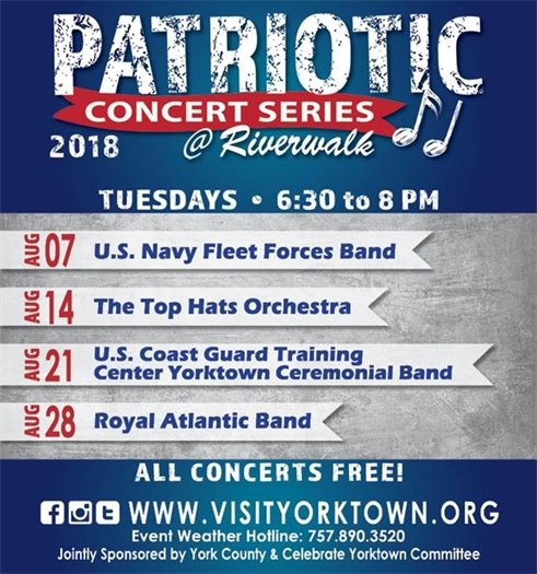 Join us for the Yorktown Patriotic Concert Series kicking off Tues, Aug. 7