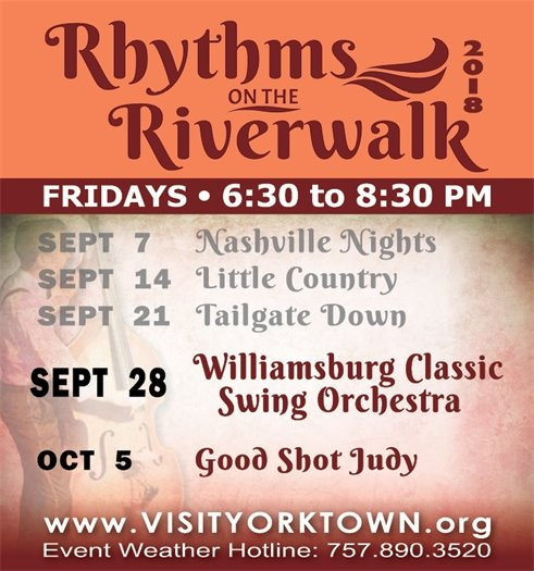 Join us for Rhythms on the Riverwalk Friday, September 28 Featuring the Williamsburg Classic Swing Orchestra