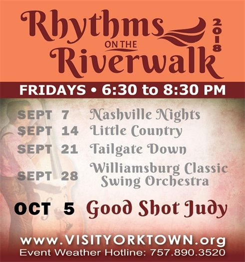 Join us for the final Rhythms on the Riverwalk concert this Friday, October 5 featuring Good Shot Judy