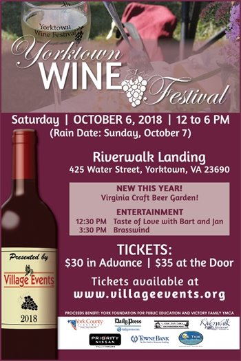 Don't miss the Yorktown Wine Festival this Saturday, October 6