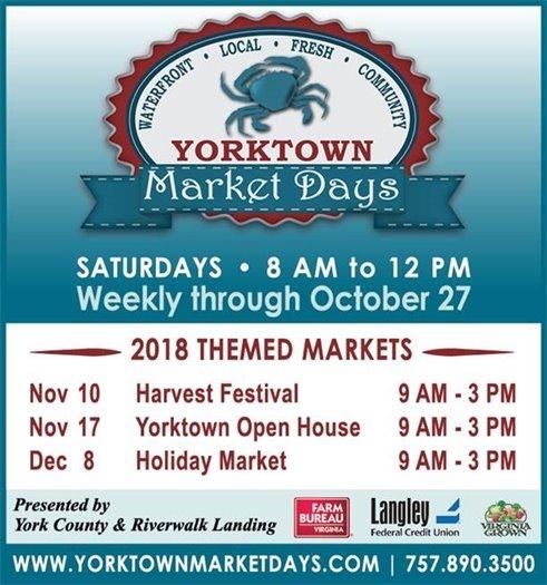 Yorktown Market Days final regular Market this Saturday, October 27