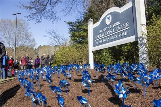 Pinwheels Placed at Operations Center in Recognition of Child Abuse Prevention Month