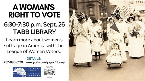 """Tabb Library Hosting """"Virginia Women in History"""" Exhibit; Discussion of Virginia Suffragette Lucy Randolph Mason"""