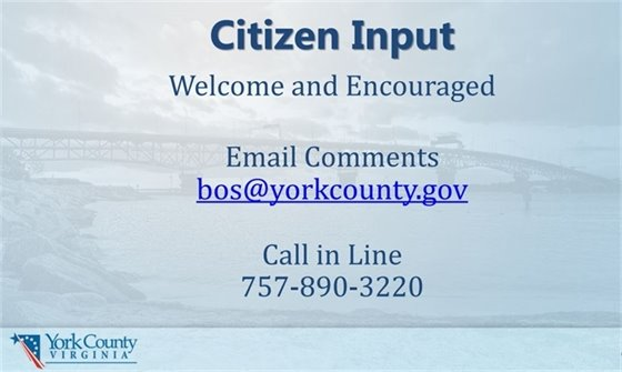 Citizen Input Welcomed and Encouraged