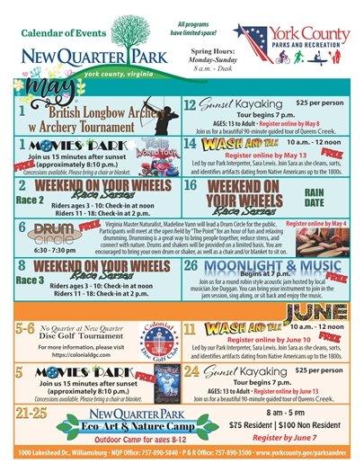 May / June Calendar of Events