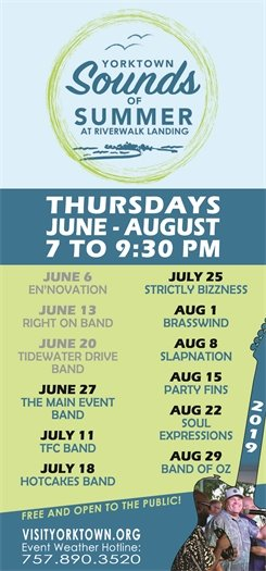 Yorktown Sounds of Summer, this Thursday, June 27 featuring the Main Event Band