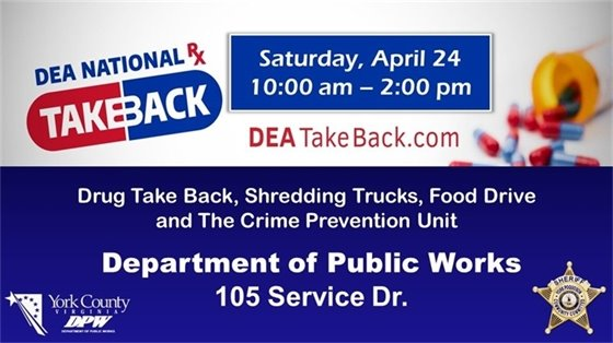 Drug Take Back, Shredding Trucks, Food Drive and The Crime Prevention Unit