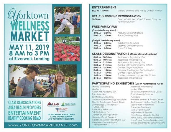 Yorktown Market Days promotes Wellness this Saturday, May 11 from 8 am to 3 pm