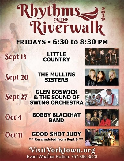 Rhythms on the Riverwalk Concert featuring Good Shot Judy postponed until Friday, October 11