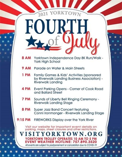 Yorktown Fourth of July Schedule of Events - Sunday, July 4, 2021