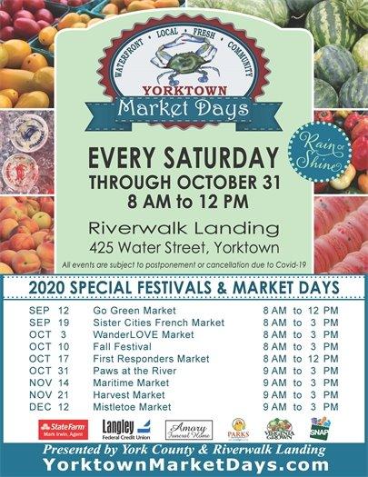 Yorktown Market Days every Saturday through October 31