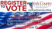 Voter Registration for June Primaries ends May 20