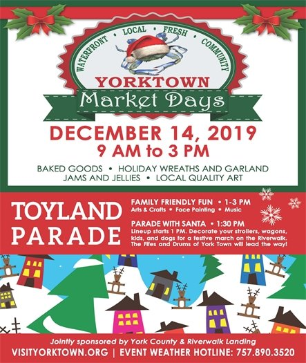 Yorktown's Annual Toyland Market features Children's Activities, Toyland Parade, Colonial Ornament Making and More....this Saturday, December 14 from 9 AM to 3 PM