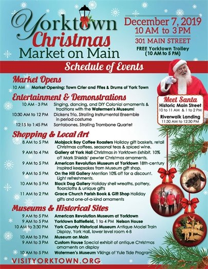 Yorktown Christmas Market on Main Street, this Saturday, December 7 from 10 am until 3 pm