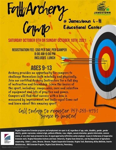 Fall Archery Camp at Jamestown 4-H Center flyer
