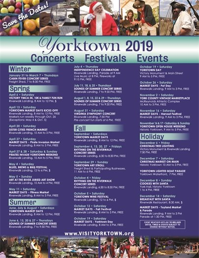 2019 Yorktown Preliminary Schedule of Events