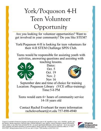 4-H Teen STEM Challenge Volunteer opportunity flyer