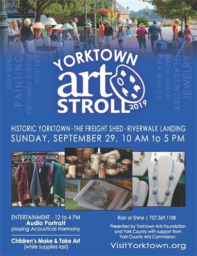 Yorktown Art Stroll, this Sunday, September 29 from 10 AM to 5 PM