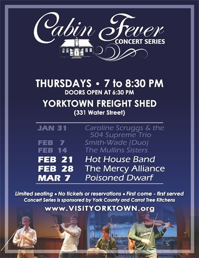Don't miss this week's Cabin Fever Concert - Thursday, February 21 featuring the Hot House Band