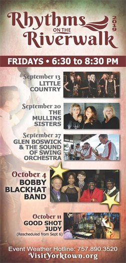 Join us this Friday, October 4 for the Rhythms on the Riverwalk concert featuring Bobby Blackhat Band