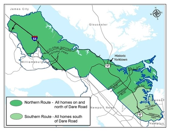 For leaf collection purposes, the County is divided into two zones.