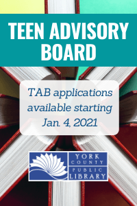 Teen Advisory Board Applications will be available starting Jan. 4, 2021.