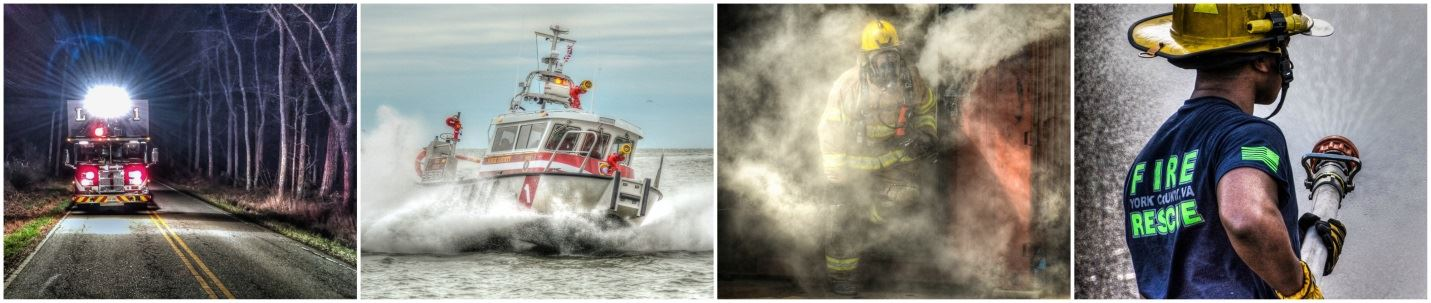 Collage Image of FLS personnel, boat, and trianing