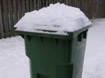 trash can with snow