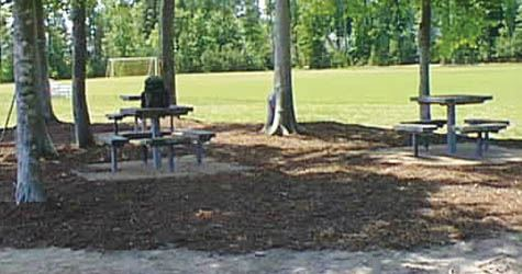 Two picnic tables in a wooded area.
